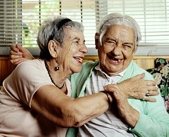 Ana y Adela (La Doble A Producers) Tags: friends smile sisters happy hug joy oldwoman abrazo