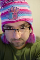wotchoolookinat? (charlie chocolate) Tags: pink green me hat self beard pom purple posh beanie hi5