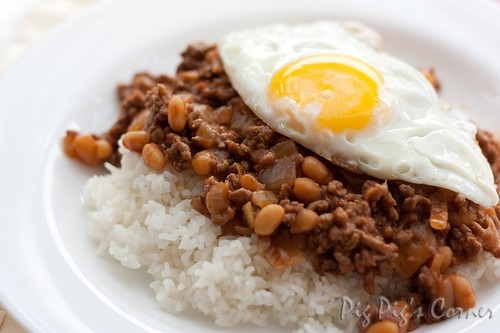 Minced beef and baked beans 1