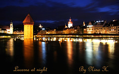 Lucerne at night (Nino H) Tags: bridge light alps tower luz night river switzerland suisse lumire swiss luzern chapel pont baroque lucerne nuit kapellbrcke reuss mywinners