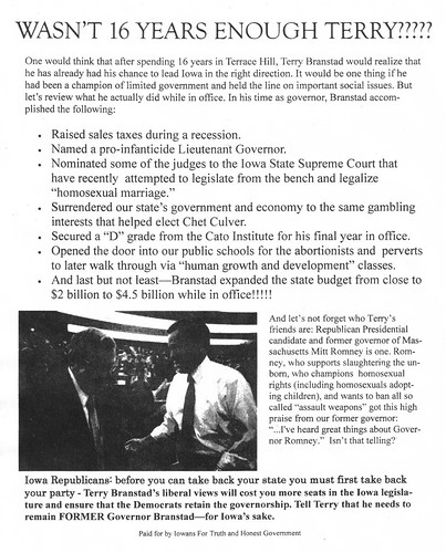 anti-Branstad flyer that appeared in Des Moines, 8/22/09