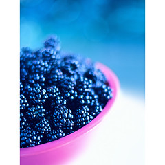 blackberry anyone? (another planet : )) Tags: pink blue fruit blackberry bokeh bowl homegrown blackberries thingsfrommygarden