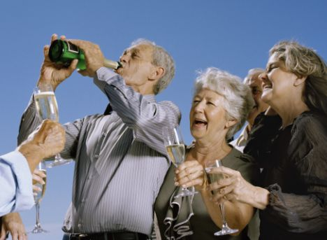 Old people drinking