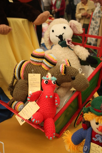 Knitted creatures in the WI tent