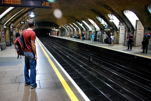 j waiting for the tube, london