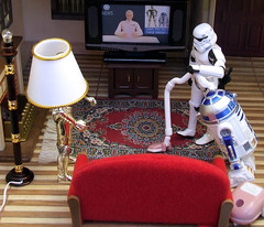 Droids in disguise. (waihey) Tags: house news lamp television lightbulb starwars report cleaning housework disguise r2d2 stormtrooper imperial hoover lampshade vacuumcleaner c3po droids