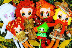Dolls to Fall in love with! (boopsie.daisy) Tags: autumn red orange holiday cute fall halloween nature leaves yellow season doll dolls handmade witch lace ooak rustic kitsch plush redhead softies handpainted blonde calico albino plaid autumnal dollies omemade boopsiedaisy