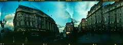Piccadilly Circus - Holgarama 2/5 (Rolf F.) Tags: camera uk greatbritain england urban panorama london 120 film analog canon mediumformat toy evening frames holga interestingness interesting mask kodak unitedkingdom circus doubleexposure no n piccadilly scan piccadillycircus multipleexposure plastic explore commercial 400 frame gb 400uc analogue uc expired portra without canoscan commercials overlap 120n removed kodakportra400uc holga120cfn overlapping 8800 cfn 8800f