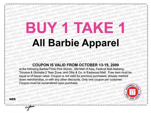 Barbie apparel sale coupon