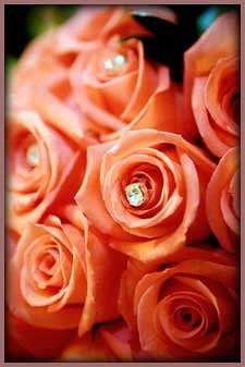 Peach Rose Wedding Bouquet Sprinkled with Diamonds.