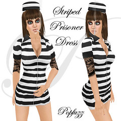 PopFuzz - Striped prisoner dress ad copy