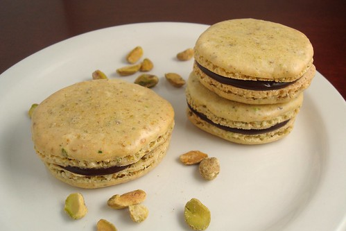 Pistachio Macarons with Chocolate Ganache