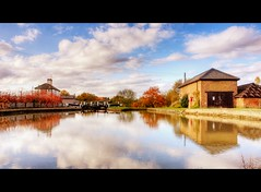 Three Locks (john edward michael1) Tags: trees clouds canon reflections landscape canal buckinghamshire bluesky bucks hdr picnik grandunioncanal bletchley stokehammond eos450d