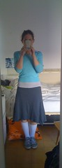 05-11-2009 (shiri.biri) Tags: light white shirt dark gray skirt sicks polo turquise sweather kneehigh chuks dailyoutfit