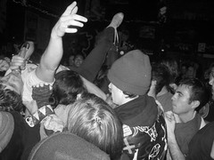Fleshies 11/21/09 (rrrrobbie) Tags: show blackandwhite berkeley punk crowd eastbay crowdsurfing fleshies 924gilman
