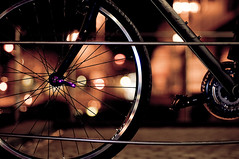 Bokeh Crossing (christian.senger) Tags: light urban black bike bicycle night digital germany geotagged nikon europe crossing dof bokeh outdoor steel wheels rims ulm lightroom d300 strobist christiansenger:year=2009