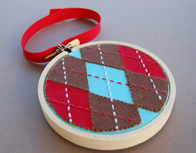 Red Aqua and Brown Argyle Ornament