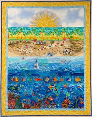Footsteps (emma_louise) Tags: original art beach seaside underwater quilt patchwork reef applique foundationpieced fmq sampaguitaquilts