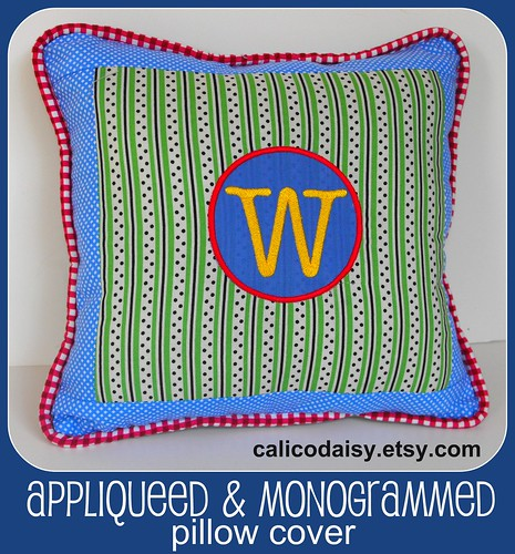 Monogrammed Appliqueed Pillow framed