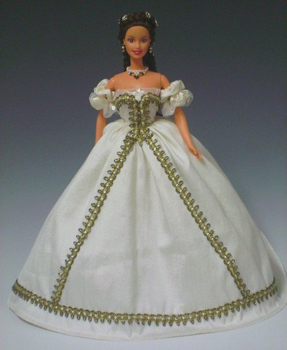 Sissi Barbie in white silk ballgown by Bavarian Dolls.