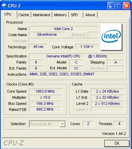Intel D510MO CPU-Z