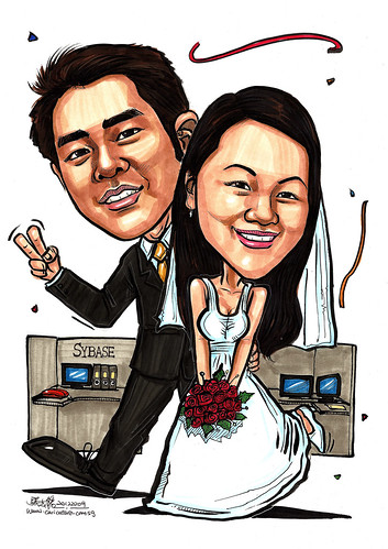wedding couple caricatures @ Sybase office A4