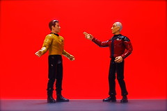 Kirk vs. Picard (2/365) (JD Hancock) Tags: day2 startrek favorite fun toy actionfigure action cc figure scifi duel 365 captainpicard picard kirk 5k 1k captainkirk nogeo inkitchen galleried jdhancock duel365