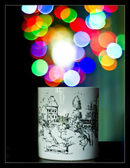 opening the world of bokeh.. (PNike (Prashanth Naik)) Tags: blue red white green colors yellow sparkles nikon dof bokeh mug hyderabad whitemug bokehlicious worldofbokeh pnike