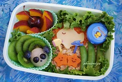Salmon patty bento (sherimiya ) Tags: school fish cute cherry lunch kid healthy panda rice sweet burger peach salmon potato homemade bento kiwi patty lychee obento peapods sherimiya