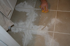 wiping the grout
