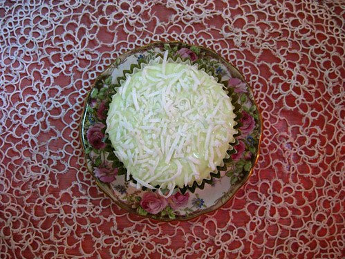 Coconut cupcakes with lime icing