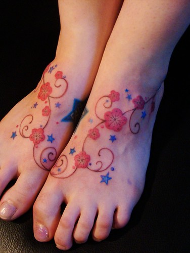 cherry blossom. foot tattoo