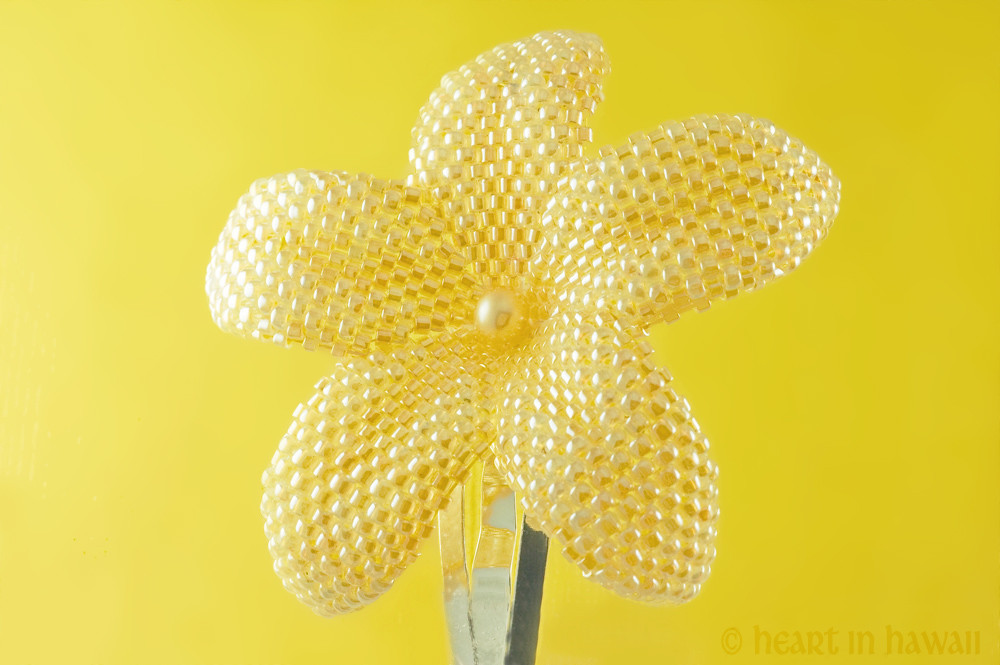 beaded plumeria flower - pearly butterscotch