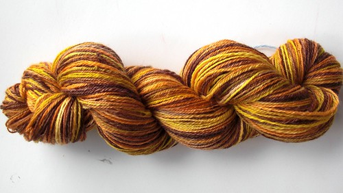 ~ 348yds navajo plied, 4.2oz70-30 merino-mohair Fallen Leaves by travelingrhinos, a gift from Chawne-1