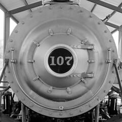 107 (RedRangerXXIV) Tags: railroad light blackandwhite bw train canon georgia pacific monotone powershot steam albany restoration locomotive preservation alco 462 s5is chdk georgianorthern