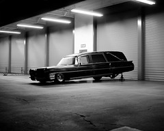 (andrew sea james) Tags: california blackandwhite car night nikon f14 garage sigma repair orangecounty huntingtonbeach hearse eureka 1964 30mm landau hsm