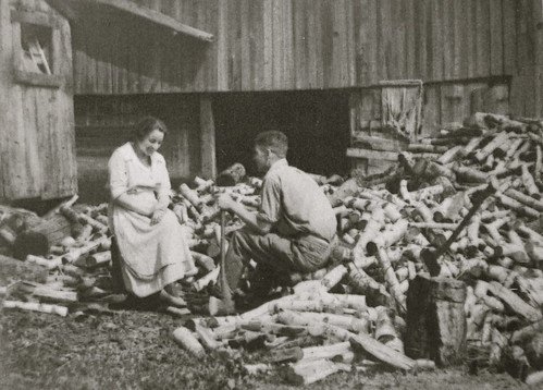 Dean and Helen in the wood pile