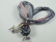 My Kitty (Kajulee ~ Chainmaille and Jewellery) Tags: uk pink blue cat necklace handmade jewelry jewellery ribbon sra focal sterlingsilver swarovskicrystals lampworkbeads naomiowen kajulee