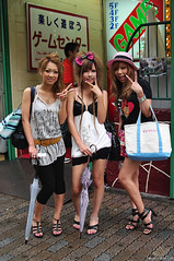 Shibuya Girls x3 (tokyofashion) Tags: girls cute smile hat smiling fashion japan japanese tokyo crazy pretty shibuya smiles  gals peacesign miniskirt camisole centerstreet gyaru animalprint hairbow widebelt shibuyagirls shibuyagirl