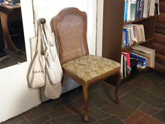 old chair before being reupholstered