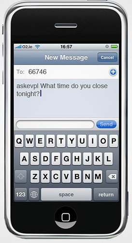 iPhone displaying askevpl text message