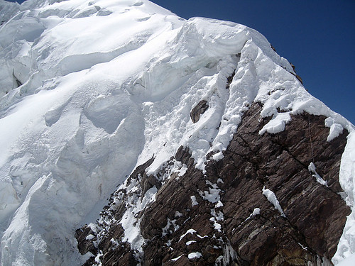 Скальный участок на левом ребре Абалаковского маршрута