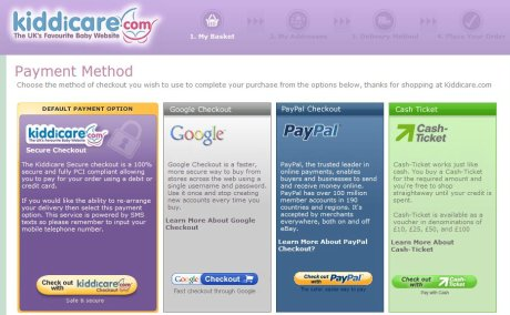 Kiddicare payment options