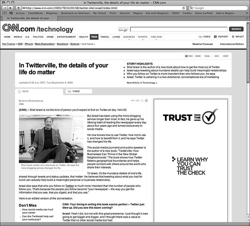 CNN Twitterville Story Page With Verisign Ad