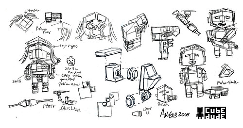 CubeDudes Aliens/Predator Development Sketches by Angus MacLane