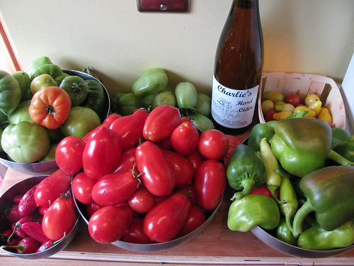early fall harvest and a bottle of Charlies hard cider
