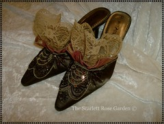 Marie Antoinette shoes (ohairas) Tags: beads shoes lace victorian copper boudoir ribbon taffeta satin sequins slippers 18thcentury marieantoinette edwardian