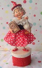 Miss Mother Goose (thepolkadotpixie) Tags: art paper doll folk ooak polka dot pixie clay mothergoose handsculpted