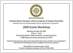 Federal Grants Workshop Flyer, Savannah, 2009
