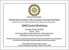 Federal Grants Workshop Flyer, Savannah, 2009